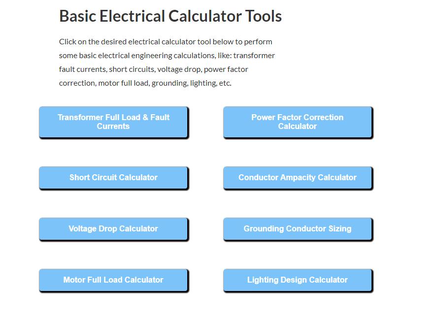 Electrical-Lighting-and-Short-Ckt-Calculators